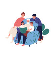 grandfather and relatives reading book sitting on vector image vector image