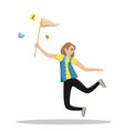 happy woman jumping with a net in his hands girl vector image