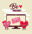 hearts couple with valentine card in the computer vector image