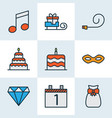 holiday icons colored line set with day 1 santa vector image vector image