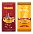 hot dog flyers set realistic detailed 3d vector image vector image