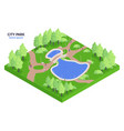 isometric city park composition vector image vector image
