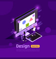 isometric people and interfaces glow concept vector image vector image