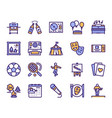 leisure linear color icons set vector image vector image