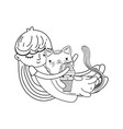 little girl with cat kawaii character vector image