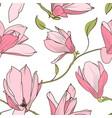 magnolia sakura pink flowers seamless pattern vector image vector image