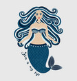 mermaid hand drawn sea girl woman with tail vector image vector image