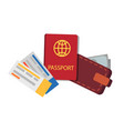 passport tickets collection vector image vector image