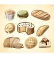 Pastry and bread decorative icons set vector image vector image