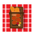 picnic basket and tablecloth vector image