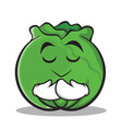 praying cabbage cartoon character style vector image
