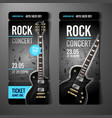 rock concert ticket template with black guitar vector image vector image