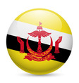 Round glossy icon of brunei vector image vector image