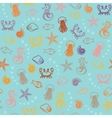 Seamless pattern with colorful sea animals vector image