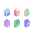 set colorful backpacks isometric icons in 3d vector image vector image