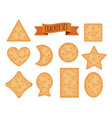 set cracker chips different shapes isolated on vector image vector image