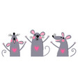 set funny rats for design cute little mice in vector image vector image