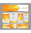 Set of orange corporate style polygonal vector image