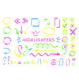 sketchy symbol and arrows highlight pen set vector image
