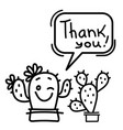 thank you card with cute cactuses succulent vector image vector image