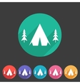 Tourist camp tent icon flat web sign symbol logo vector image