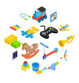 toys isometric 3d icons set vector image vector image