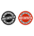 under construction black rosette stamp with vector image vector image