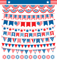 USA celebration buntings garlands flags flat vector image vector image