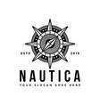 vintage hipster retro compass nautical logo vector image