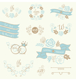 wedding elements blue vector image