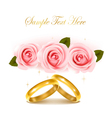 wedding rings and roses bouquet vector image vector image