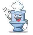 chef toilet character cartoon style vector image