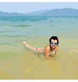 smiling girl in sunglasses lying in water vector image