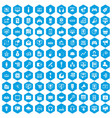 100 web and mobile icons set blue vector image vector image