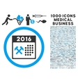 2016 Working Days Icon with 1000 Medical Business vector image vector image