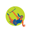 Acrobat Flying Trapeze Act Circle Retro vector image vector image