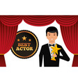actor wearing tuxedo holding gold star award vector image