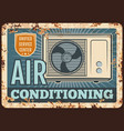 air conditioner rusty metal plate device vector image