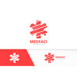 ambulance logo combination medic symbol vector image vector image
