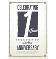 anniversary retro vintage background 1 year vector image vector image