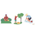 asian farmer character set flat isolated vector image