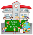 Back to school theme with students at school vector image vector image