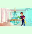 ballroom chandelier cleaning vector image