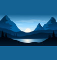 beautiful dark blue mountain landscape with sun vector image