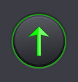 black up button with green arrow vector image vector image