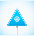 blue road sign with snowflake vector image