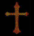 bright pixel christian cross icon vector image vector image