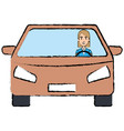 car vehicle with driver isolated icon vector image