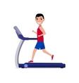 cartoon boy man running on a treadmill vector image
