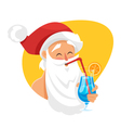 cartoon style of Santa with cocktail vector image vector image